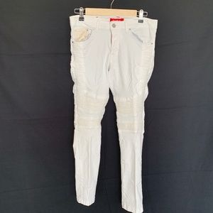 Ron Tomson – Tapered Washed Moto Jeans in White
